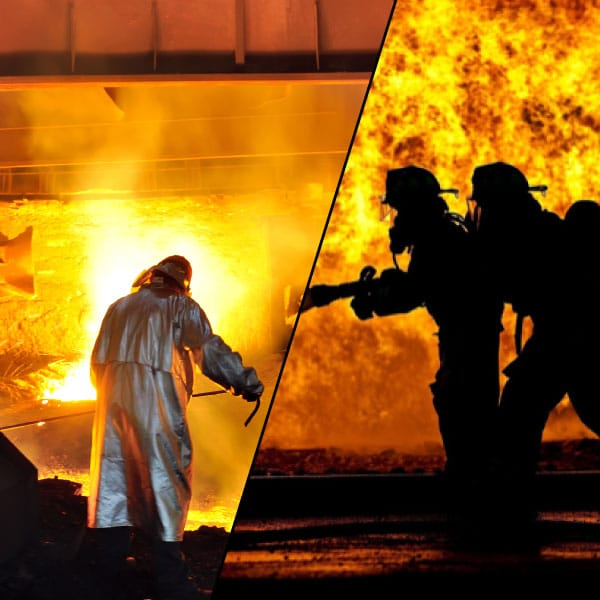 worker and firefighter in fire