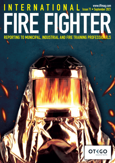 Cover OTego for International fire fighter magazine with aluminized proximity suit